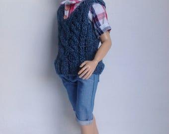 Knitted vest for Lammily boy, blue vest
