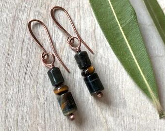 Tiger's eye and copper earrings Dangle earrings Handmade earrings Bohemian earrings (#45)