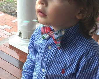 Sold out!  Red/blue plaid bow tie