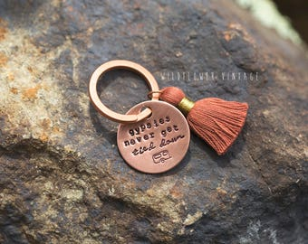 Gypsies Never Get Tied Down keychain | camper gypsy hand stamped copper gift tassel