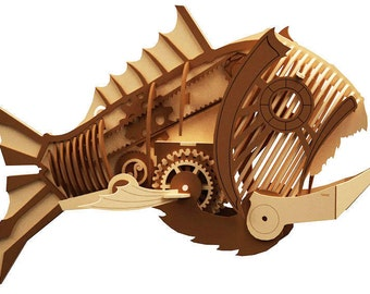 steam punk mechanical fish wood laser cut model