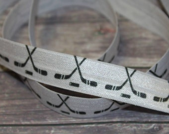 "5/8"" Hockey Sticks Black on White Sports DIY Headband Supplies Fold Over Elastic FOE per Yard"