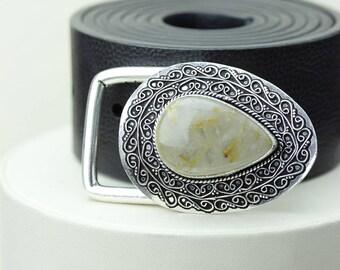 Tear Drop Sideways RUTILATED Rultile Quartz Vintage Filigree Antique 925 Fine S0LID Sterling Silver + Copper BELT Buckle T142