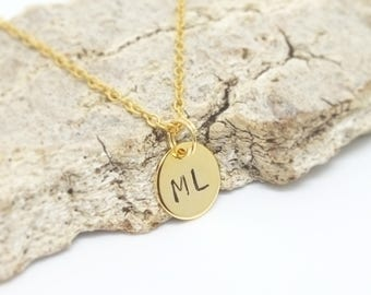 Initial necklace, 24 k gold plated, customized, initial pendant necklace, monogram necklace, engraved charms, double initial necklace