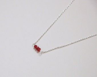 Ruby Necklace - Silver Gemstone Necklace - Ruby Rondelle Necklace - Sterling Silver Necklace - Dainty Necklace - Juy Birthstone