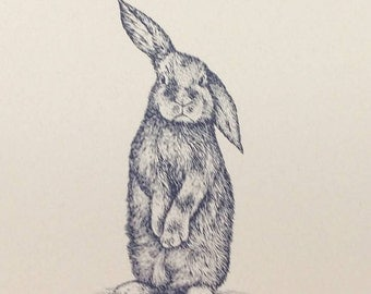 Bunny Print: hand pulled screen print on card Stock Paper / Dark Blue Gray