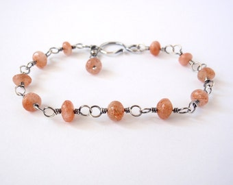 Sunstone Bracelet ~ Handcrafted with Eco-Friendly Recycled Sterling Silver ~ Glittering Orange Sparkle Gemstone ~ Joyful and Positive