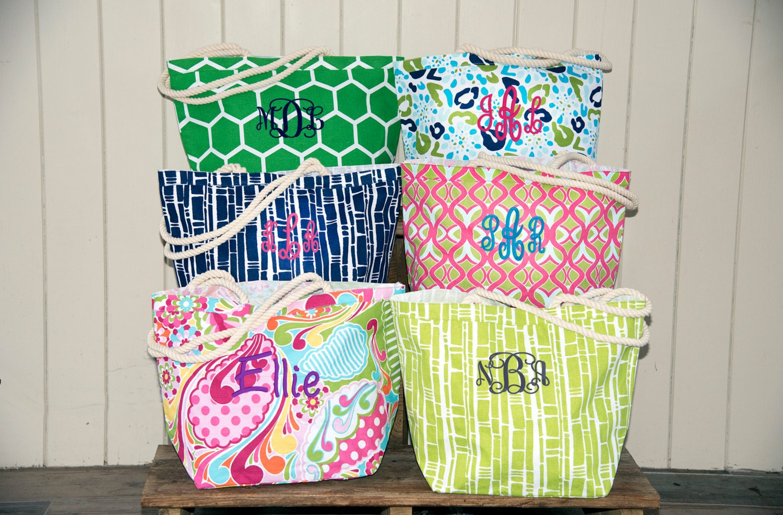 Monogrammed Beach Bag Personalized Beach Bag Teacher Gift