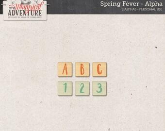 Alphabet, spring alpha, digital scrapbooking, instant download scrapbook elements, letters, numbers, symbols, wooden tiles, wooden alphabet