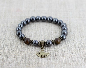 Mens bracelet Mala bracelet Aquarius birthstone bracelet Bird jewelry Anniversary gifts for boyfriend gift for dad gift for men gift for him