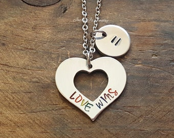 Hand Stamped Love Wins Heart Necklace, Rainbow Necklace, Gay Pride Necklace, Love Wins Equality, Rainbow Heart Jewelry, Marriage Equality