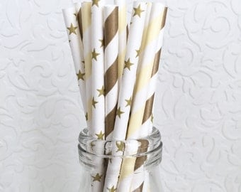 Paper Straws Gold and Champagne. Baby Shower. Bridal Shower. Gender Reveal. Gold. Cream. Ivory. Neutral. Stars. Twinkle Twinkle Little Star.