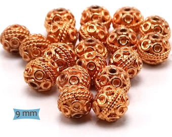 Bright Copper Rope and Coil Beads—10 Pcs | 27-CM210-10