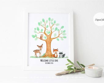 woodland animals baby shower fingerprint tree guestbook - forest animals birthday thumbprint guestbook - baby shower gift - birthday gift