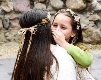 Mommy and Me Flower crown forest Fairy wreath Woodland headdress Bridal floral crown Mum daughter Flower girl circlet Wedding hair garland