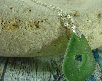Sea Glass Jewelry Heart Green Sea Glass Necklace Seaglass Jewelry Beach Glass Necklace Beach Wedding