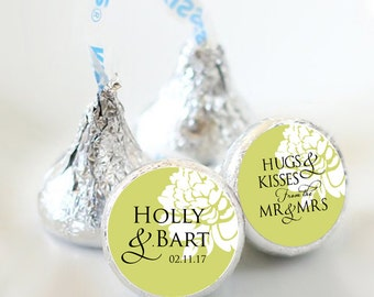 108 Custom Wedding Floral Hershey Kiss® Stickers - Bridal Shower, Stickers, Floral Kiss Labels, Party Favors, You pick the colors