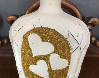 Repurposed bottle, decorative bottle, glassware, chalk board.