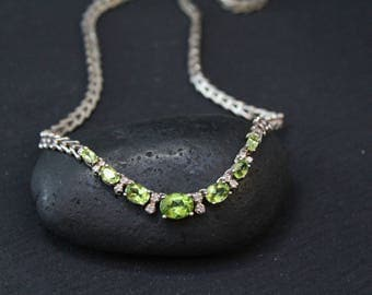Sterling Silver Peridot Gemstone Necklace, Peridot Jewelry, Gemstone Statement Necklace, August Birthstone, Sterling Gemstone Choker