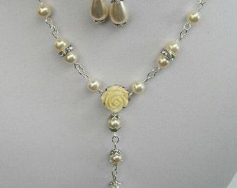 Cream Pearl Necklace, Cream Pearl Earrings, Cream Jewelry, Pearl Jewelry, Cream Pearl Choker, Choker Necklace, Adjustable Necklace, Bride