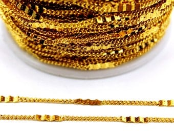 10 meters ( 33 Feet ) Wire Thickness : 0.30 mm Chain, Gold Tone, Free Yes