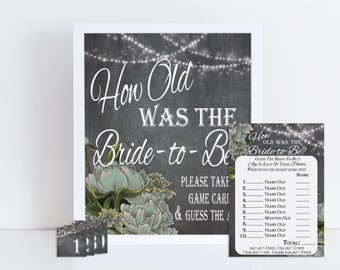 How Old Was The Bride To Be, Guess the Bride's Age, Bridal Shower Game Printable, Photo Game, Floral Party Game, Instant Download