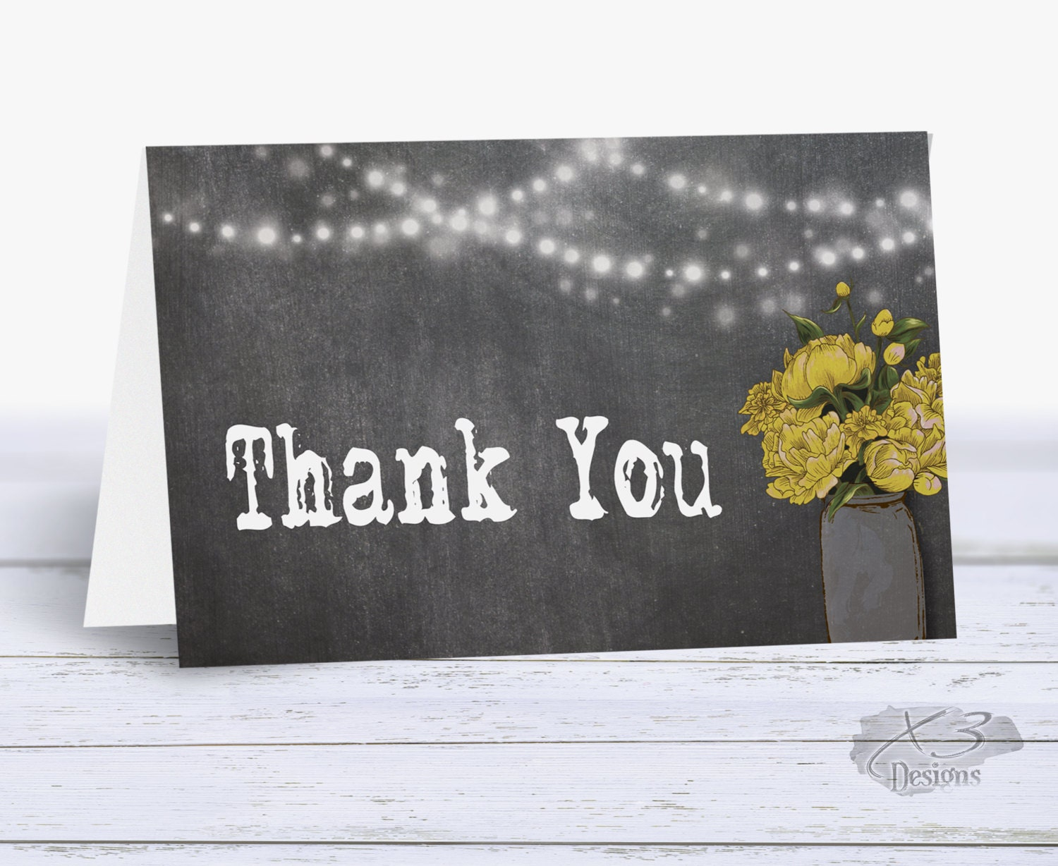 bridal shower thank you cards printable rustic wedding thank you