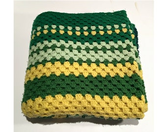 Retro Green Crochet Blanket