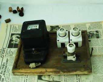 Vintage electric meter board - Electric meter - Measuring device -Old Bulgarian meter -Old gadget meter -Steampunk meter - Voroshilov BG