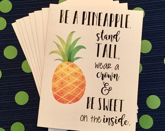 Be a Pineapple Note Cards - Yellow, Black and White - Handlettered - Gift - Stocking Stuffer - Set of 8 with envelopes