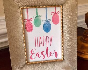 Happy Easter Art Print - Easter Egg Sign - Easter Brunch - Spring - 5x7 or 8x10