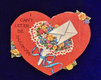 1920's Valentine Love Letter Card w  Flowers
