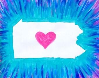 Pennsylvania Art Print   Keystone State Art   I Love Pennsylvania   Penn State Print   State Print   PA State Print   Pennsylvania Proud