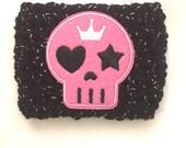 Skull Cup Cozy - Pink Skull Cup Sleeve - Crochet Cup Cozy - Sparkly Black Yarn