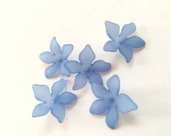 Lucite Acrylic Beads 12 pcs, Frosted, Dyed, Flower, acrylic flower beads 27x29mm, lucite flower beads, acrylic flowers, blue flower beads