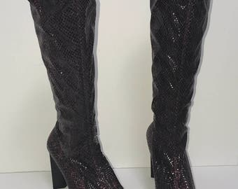 Vintage BEBE Purple Python Heeled Sock Boots Snake Skin Print Pattern Texture Womens Size 7 or 7.5