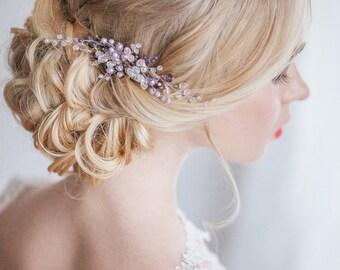 Bridal Hair Comb, violet comb, Crystal Comb, Wedding Comb, Wedding Hair Accessory, Hair Accessories, Hair Accessories, barrette, comb
