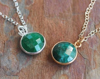 Raw Emerald Sterling Silver Necklace-Round Natural Green Emerald Gold Vermeil Necklace-May Birthstone,Love-Gold Emerald,Silver Emerald Bezel
