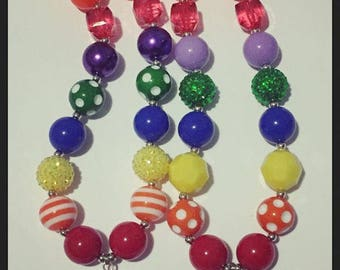 rainbow rhinestone chunky necklace