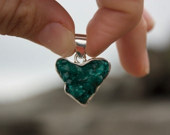 One of a Kind Raw Dioptase Love Heart Pendant set in Sterling Silver