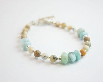 Larimar and Dendritic Agate Beaded Bracelet with Thai Hilltribe Silver Beads + Clasp - Larimar Jewellery - Beaded Gemstone Bracelet