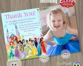 Disney Princess Thank You Card, disney princess, Princess Thank You Card, Disney Princess Birthday, Disney Princess Party, Princess Birthday