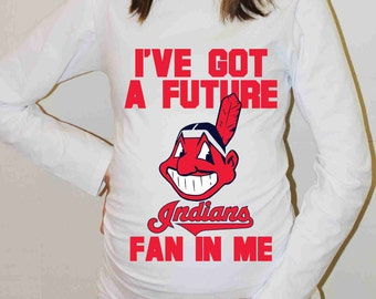 Cleveland Indians Shirt Cleveland Indians Baseball Long Sleeve Maternity Shirt Pregnancy Baby Shower