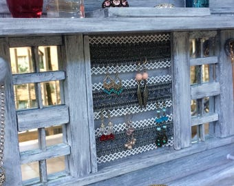 "Jewellery organiser with shelf - 14"" - Lace for earrings - Velour lined rings & studs box - Glass mirror tiles - Bangle bar  - Wood knobs"