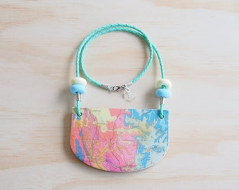 Resin Necklace | Wearable Art | Handmade | Map Bronze Splash