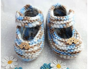 SALE baby boy shoe baby shoe boys shoe hand knitted new baby baby footwear baby gift baby clothing blue shoes baby shower 6-12 months