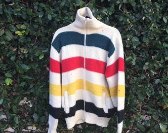LL Bean Wool Hudson Bay Cardigan Vintage LL Bean Hudson Bay Jacket Wool Cardigan LL Bean Wool Sweater Size Large Vintage Hudson Bay Zip Up