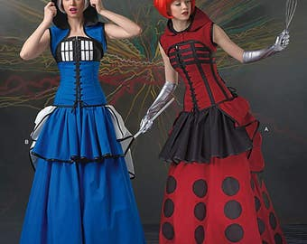 Dr. Who, Tardis, Cosplay Costumes, Simplicity Pattern 1095, Comic Con, Steampunk, Halloween, Skirt, Corset, Bustle, Misses' Size 6-22 UN-CUT