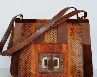 SALE 20% Off! Genuine leather handmade patchwork purse made entirely of SUZANI: Suede, leather and reptile inserts.