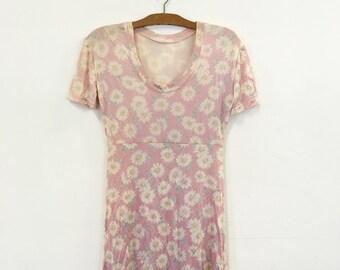 Slinky 90s Pink Daisy T-shirt Grunge Mini Dress